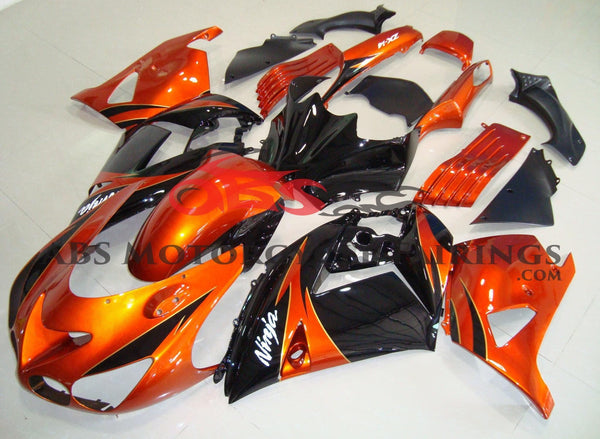 Orange and Black Fairing Kit for a 2006, 2007, 2008, 2009, 2010 & 2011 Kawasaki Ninja ZX-14R motorcycle.