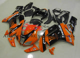 Orange and Black Monster Energy Fairing Kit for a 2007 & 2008 Kawasaki Ninja ZX-6R 636 motorcycle