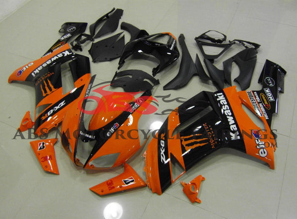 Kawasaki Ninja ZX6R 636 (2007-2008) Orange & Black Monster Energy Fairings