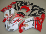 White and Red Monster Energy Fairing Kit for a 2007 & 2008 Kawasaki Ninja ZX-6R 636 motorcycle
