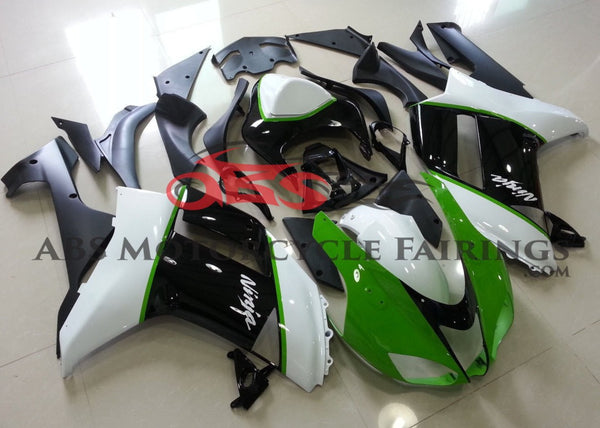 Green, White and Black Fairing Kit for a 2007 & 2008 Kawasaki Ninja ZX-6R 636 motorcycle
