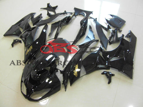 All Gloss Black with Gold Sticker Fairing Kit for 2009-2012 Kawasaki ZX-6R 636