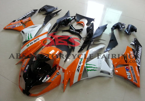 Monster Elf Orange & White 2009-2012 Kawasaki ZX-6R 636