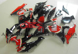 Black and Red Lucky Strike Fairing Kit for a 2006 & 2007 Suzuki GSX-R600 motorcycle.