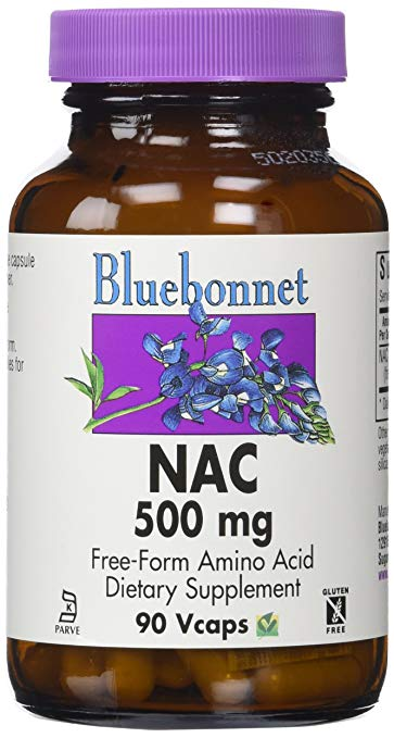 Bluebonnet NAC 500 mg Vitamin Capsules, 90 Count