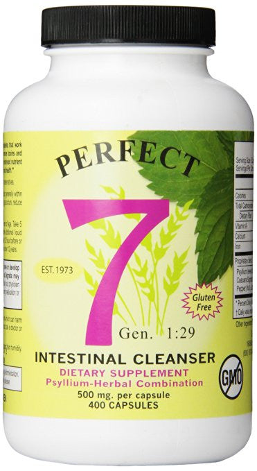 Agape Perfect 7 Intestinal Cleanser, Psyllium-Herbal Combination, 500 mg, 400 Count