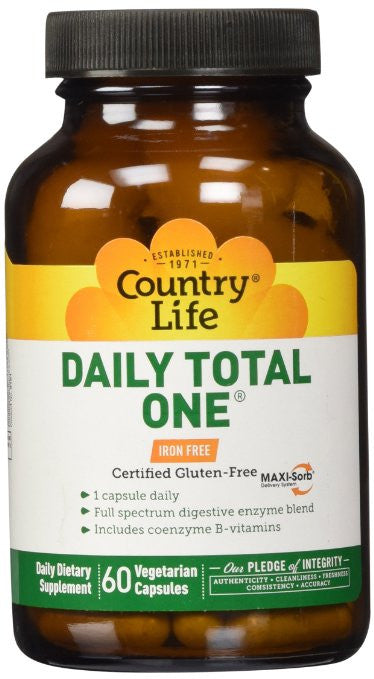 Country Life Daily Total One Maxi-Sorb Multi-Vitamins, Iron Free, 60-Vegetarian Capsules