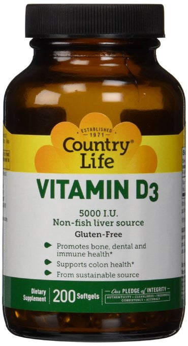 Country Life Vitamin D3 5000 I.U., 200-Softgel