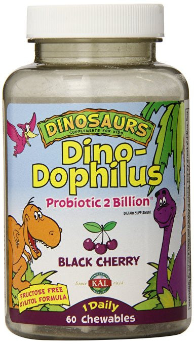 KAL Dino-Dophilus Probiotic 2 Billion Chewables, Black Cherry, 60 Count