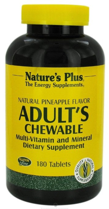 Nature's Plus Adult's Multi-Vitamin Chewable - Pineapple Flavor- 180 Chewable Tablets