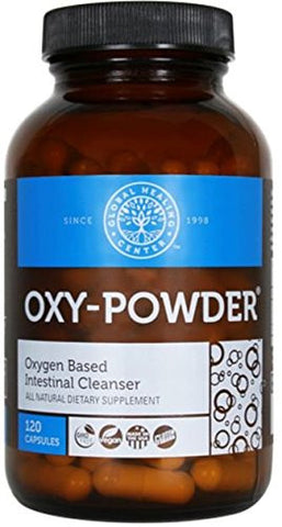Oxy Powder Oxygen Based Intestinal Colon Cleanser in 120 Vegetarian Capsules Amber Bottle