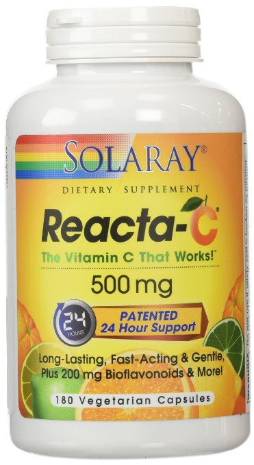 Solaray Reacta C with Bioflav Vitamin Capsules, 500 mg, 180 Count