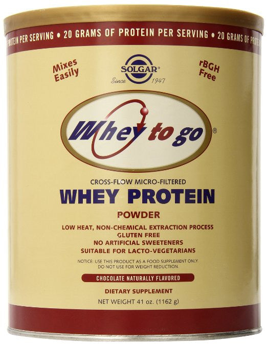 Solgar Whey To Go Protein Powder, Natural Chocolate Flavor, 41 Ounce
