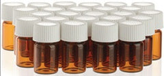 12 - (12 PK ) 2 ml (5/8 dram) Amber Glass Essential Oil Bottle with Orifice Reducer and Cap