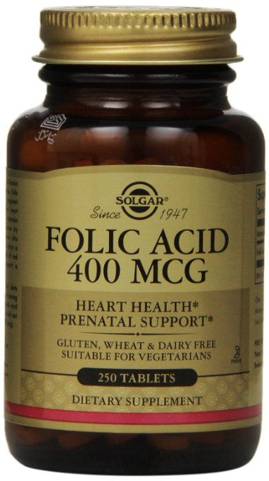 Solgar Folic Acid Tablets, 400 mcg, 250 Count