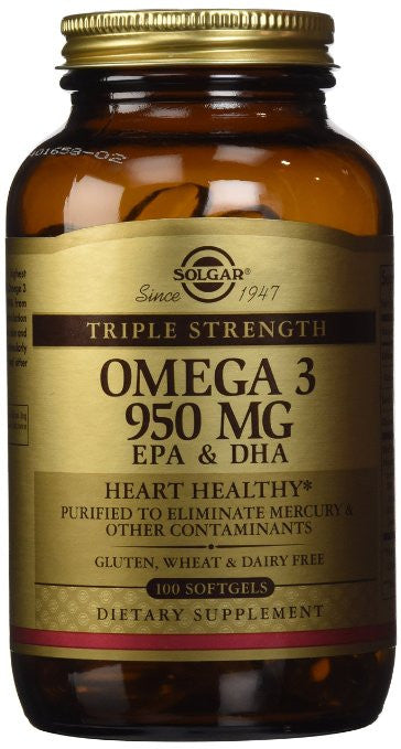 Solgar, Triple Strength Omega-3 950 mg, 100 Softgels