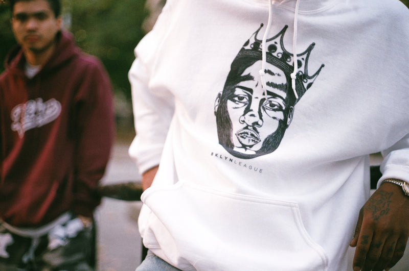 "Crowned King ""Biggie"" Hoodie - White - BKLYN LEAGUE"