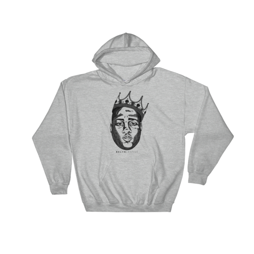 "Crowned King ""Biggie"" Hoodie - Heather Grey - BKLYN LEAGUE"