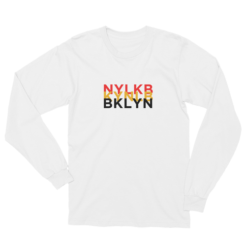Tri-BKLYN Long Sleeve Tee (White) - BKLYN LEAGUE