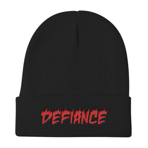 Defiance Beanie - Black & Red - BKLYN LEAGUE