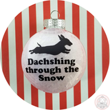 Dachshund Christmas Ornament ~ Dasching through the Snow - Weiner Dog - Short Hair Dachshund