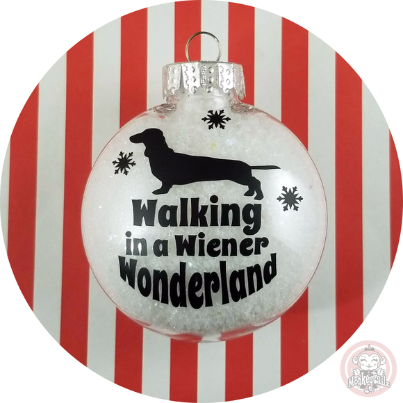 Dachshund Christmas Ornament ~ Walking in a Wiener Wonderland ~ Short Hair Dachshund