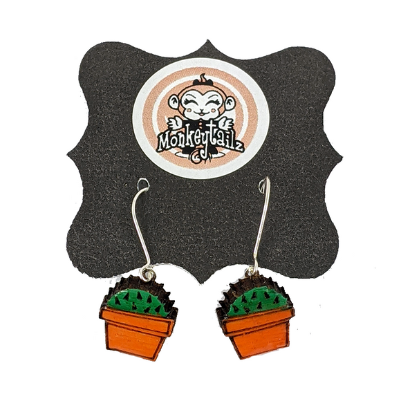 Potted Succulent Cactus Dangle Earrings