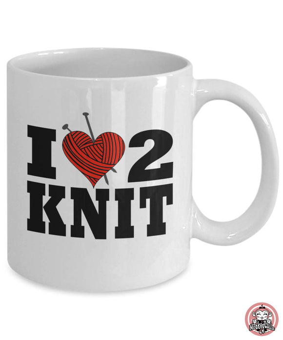 I LOVE to KNIT Coffee OR Tea Mug for Knitters by Monkeytailz