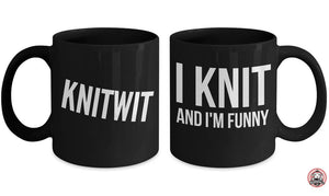 KNIT Gift KNITWIT Funny Knitting Coffee or Tea Mug for Knitters by Monkeytailz