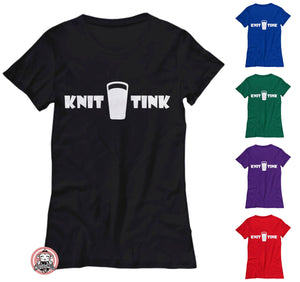 Knit Drink Tink Funny Tshirt for Beer Drinking Knitters - Women's Tee