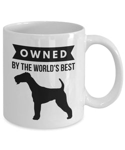 AIREDALE TERRIER Owned by World's Best Coffee or Tea Mug for Dog Lover 11 or 15 oz White Ceramic