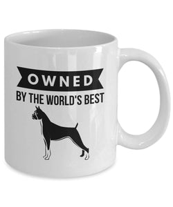 OWNED by BOXER Coffee or Tea Mug for Dog Lovers 11 or 15 oz
