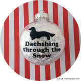 Long Haired Dachshund Dachshing through the Snow Christmas Ornament