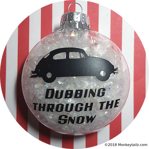 Volkswagen Beetle Christmas Ornament ~ VW Bug Dubbing through the Snow ~ Acrylic or Glass