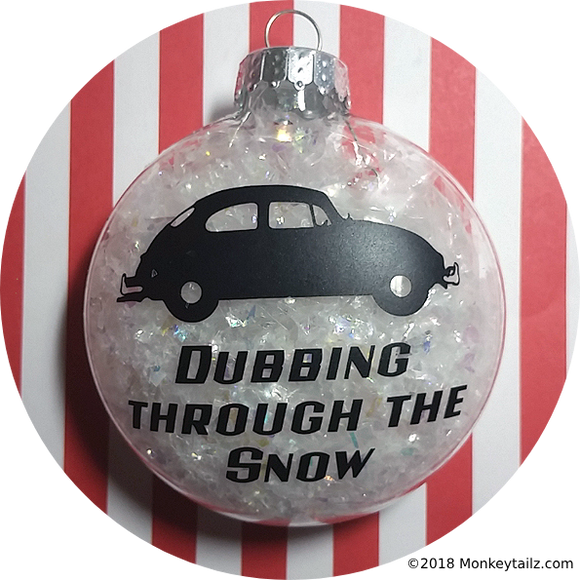 Volkswagen Bug Christmas Ornament ~ VW Beetle Dubbing through the Snow ~ Acrylic or Glass