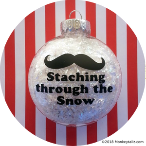 Staching through the Snow Moustache Christmas Ornament