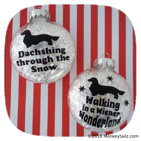 Long Hair Dachshund Christmas Ornament Set of 2 - Gift for Long Haired Doxie Lovers