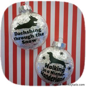 Dachshund Christmas Ornament Set of 2 - Gift for Short Hair Doxie Lovers