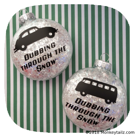 Volkswagen Christmas Ornaments - VW Beetle Bug Kombi Bus - Set of TWO - Dubbing through the Snow