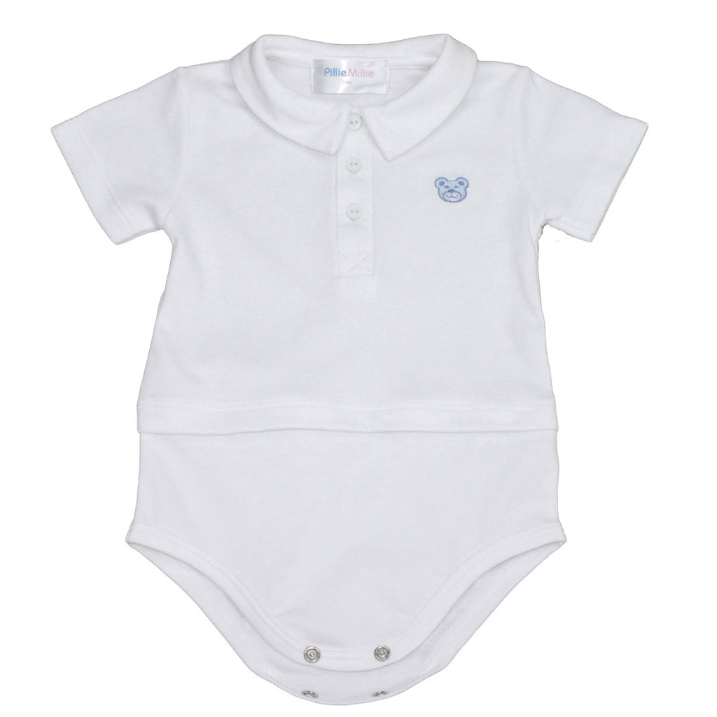 Blue Bear Pima Polo Bodysuit by PillieMillie
