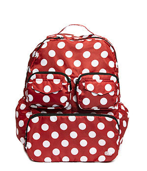 Puddle Jumper Backpack Packable in Crimson Large Dot