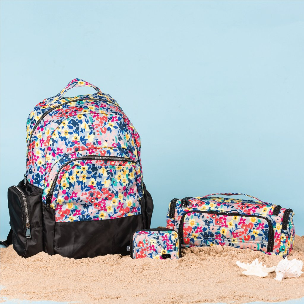 Echo Packable backpack, Splits wallet and Trolley case in Wildflower Multi