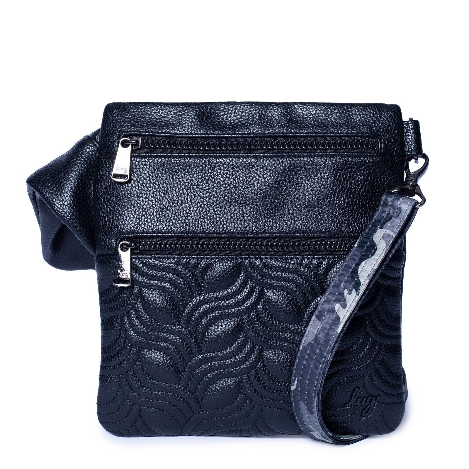 Black and White Floral and Plaid Pearl Crossbody  Purse
