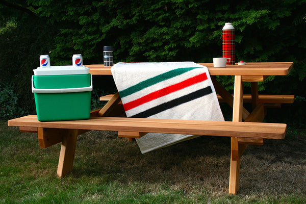 Picnic Table With Attached Benches Seattle Cedar