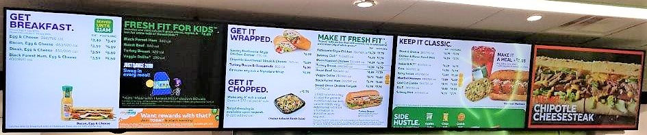 "Digital Menu Board (DMB) | 4 - 43"" Screen Package - Ceiling (US Only)"