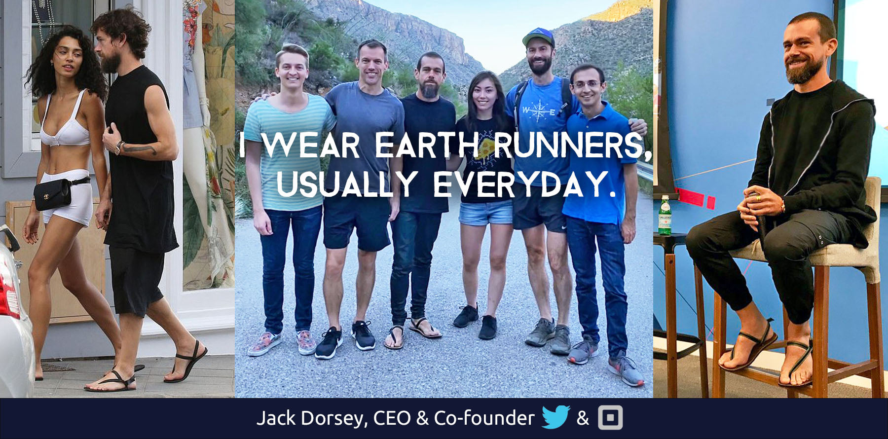 jack dorsey earth runners sandals