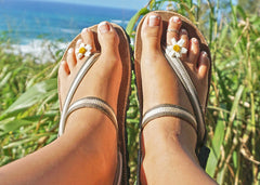 female minimalist earthing sandals