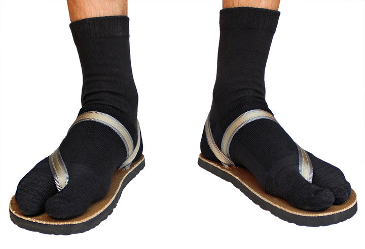 black wool tabi sandal socks