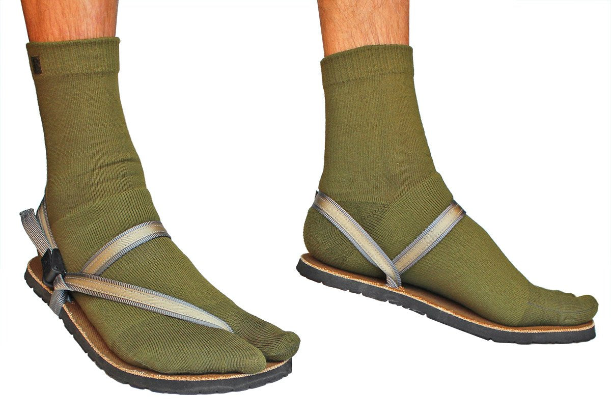 green wool tabi sandal socks