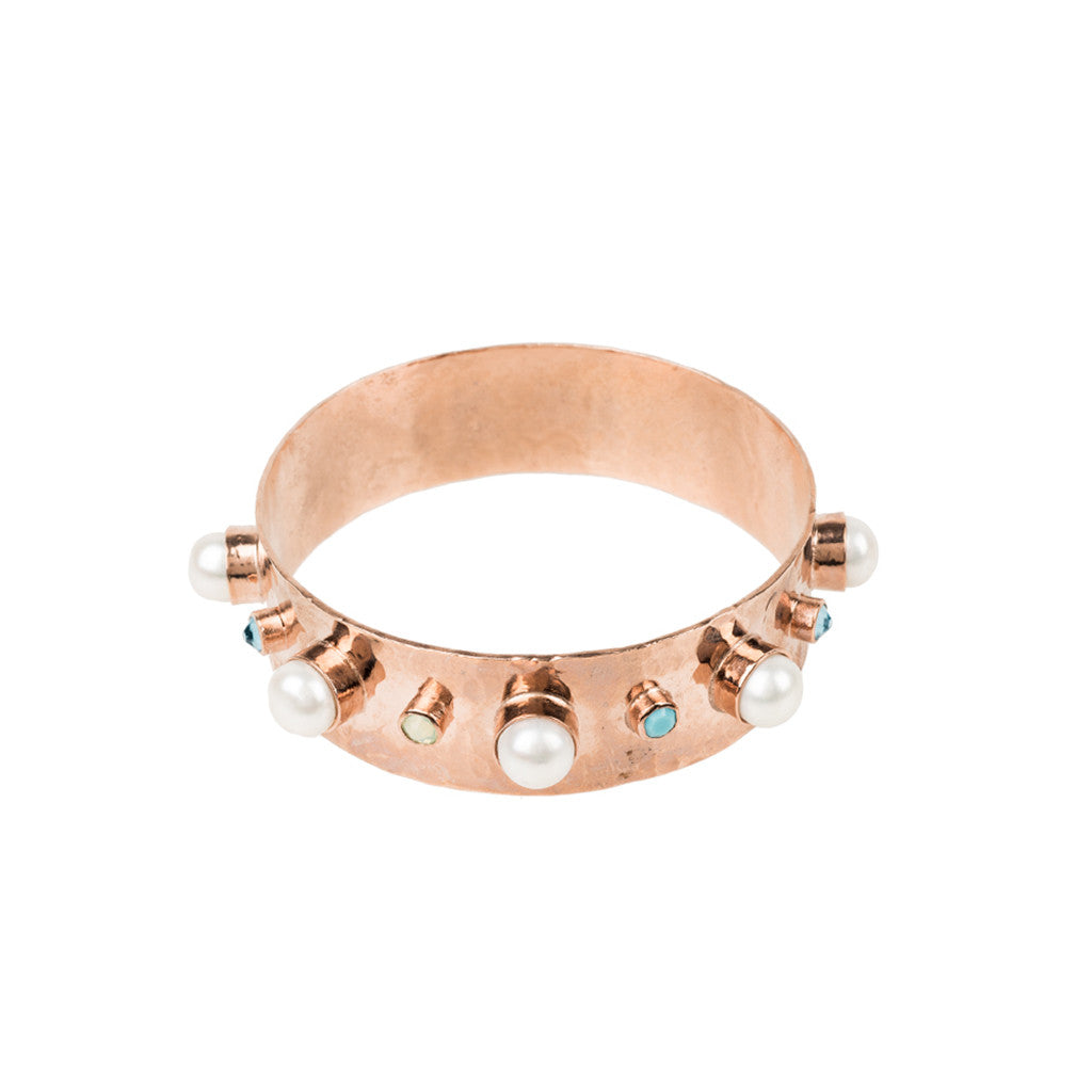 Alma Vieja thick Bangle with pearls